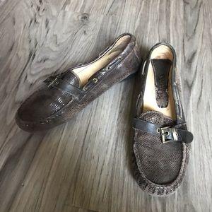 Vaneli animal skin print leather loafers slip on